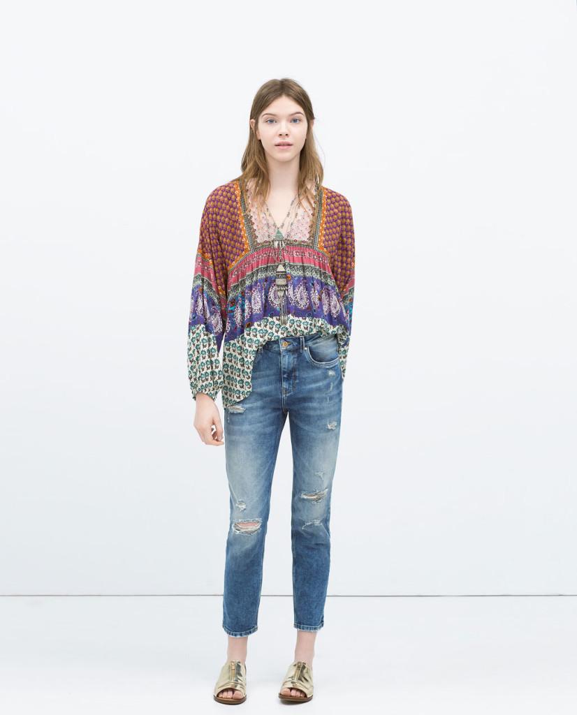 Jeans e tunica stile hippie