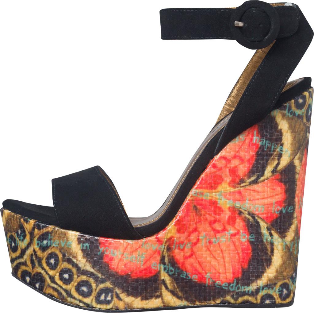 Sandali con plateau stampato con motivi floreali_Desigual