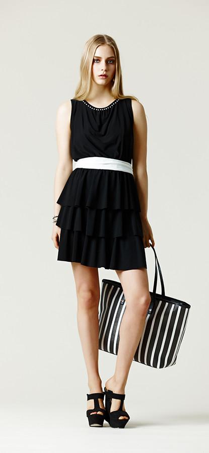 Min dress con balze, nero