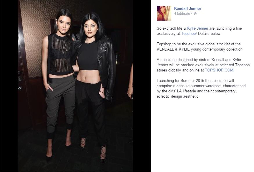 La modella Kendall con Kendall e la sorella Kylie Jenner