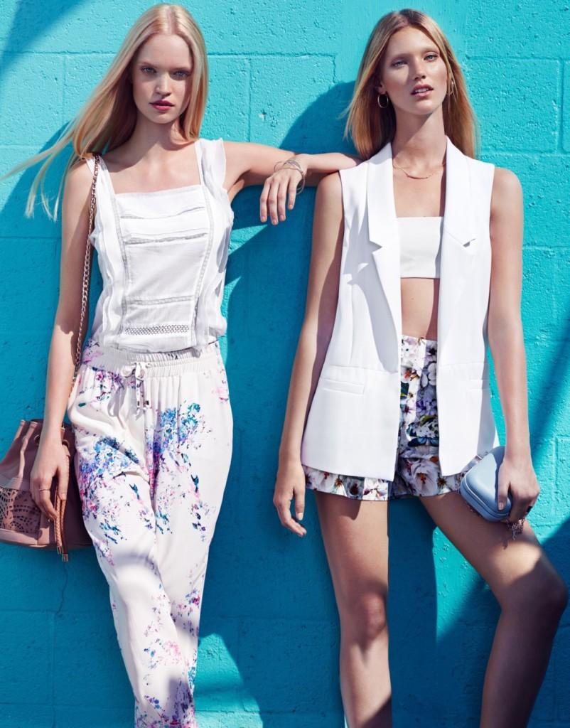 Pantaloni fantasia floreale e bianco