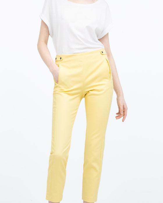 Pantaloni vita alta con bottoni a pressione Zara 29,95