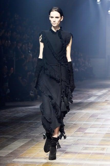 Lanvin abito nero con frange