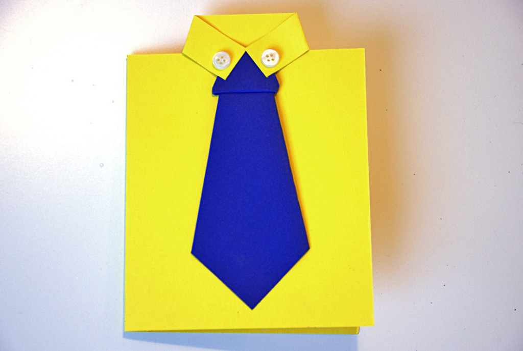 biglietto con cravatta origami per la festa del papà