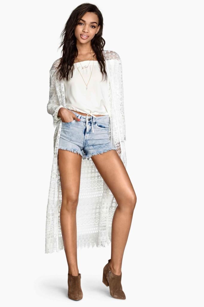Short con maglia e cardigan in pizzo_H&M