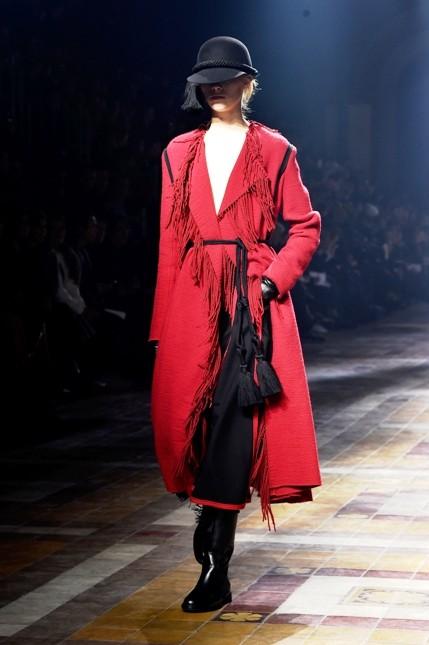 Lanvin lunga giacca rossa con frange