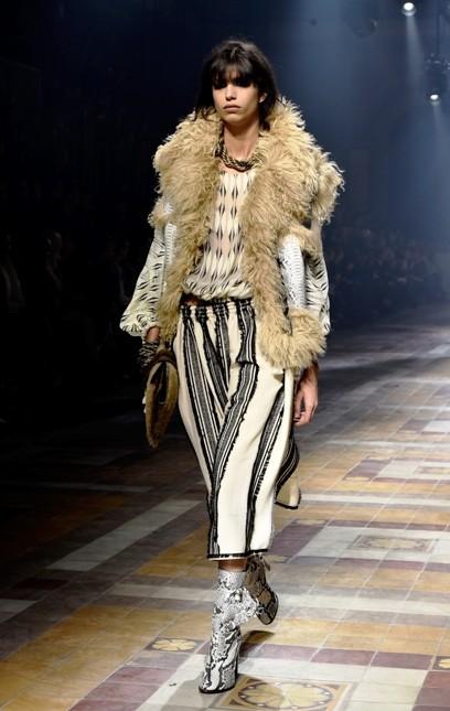 Lanvin pantalone largo a righe fitte e smanicato con dettagli fur