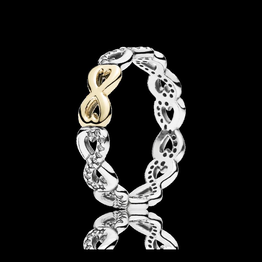 Dimostra il tuo impegno e le tue attenzioni con questo anello decorativo rifinito a mano di PANDORA. Lavorati a mano in or 14k e argento sterling, i simboli dell'infinito sono incastonati con pietre scintillanti. Una prova di affetto senza tempo.