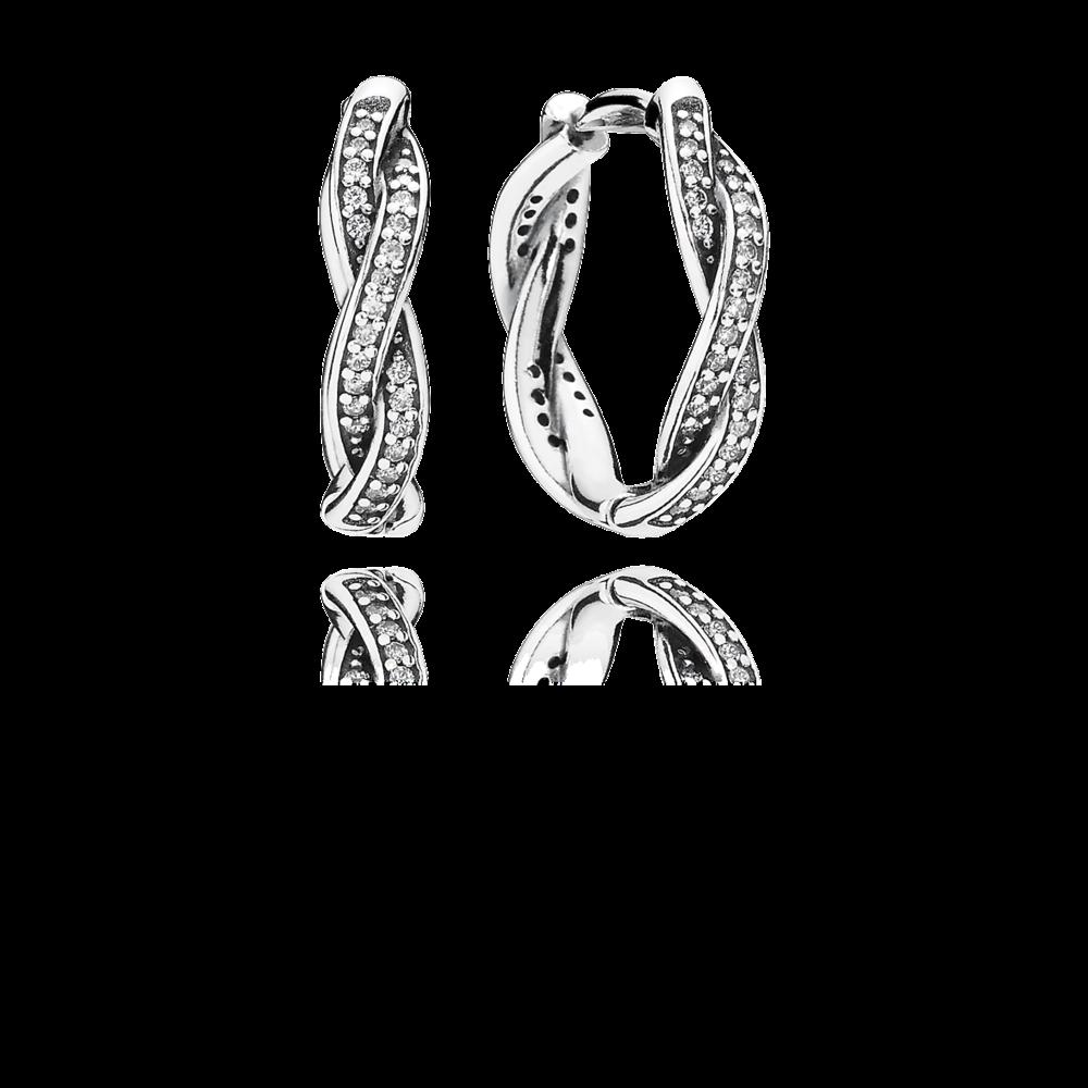 PANDORA riCompleta il classico orecchino a cerchio, con l'aggiunta di scintillanti pietre su strisce intrecciate in argento sterling. Questo modello splendente, rifinito a mano, rappresenta i legami intrecciati di famiglia e amici