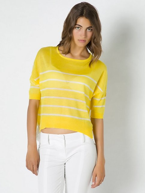 Patrizia Pepe maglia in filato di viscosa a righe gialle e bianche