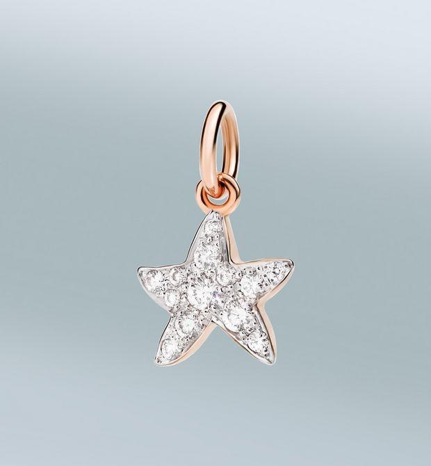 stella marina chi mi trova è feliceCome brilla la buona stella! Ciondolo in oro rosa 9 kt con diamanti bianchi. Cordino nero incluso.