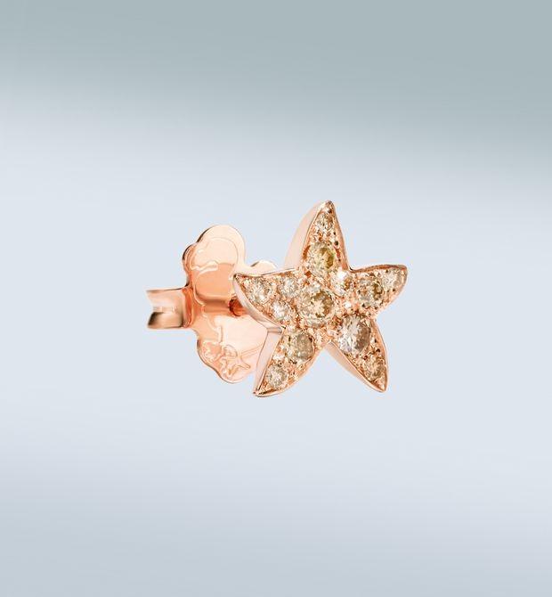Orecchino stella marina Luccicanti, per far brillare gli occhi. Orecchino singolo in oro rosa 9 kt con diamanti brown.