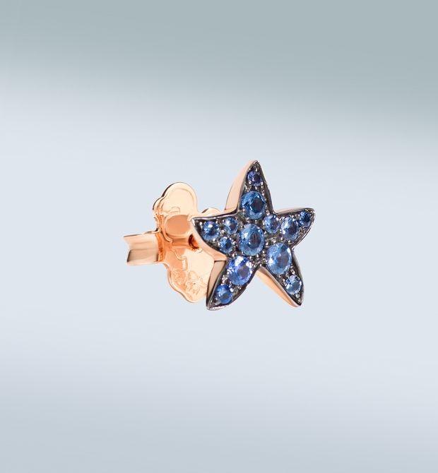 Orecchino stella marina Per sentire il rumore del mare. Orecchino singolo in oro rosa 9 kt con zaffiri azzurri.