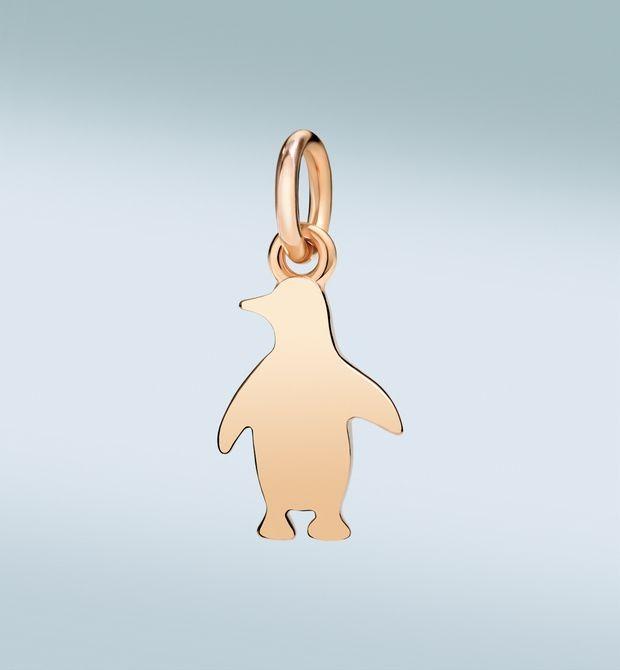 Pinguino innamorato pazzo _Per amore andrebbe in capo al mondo. Ciondolo in oro rosa 9 kt. Cordino nero incluso.