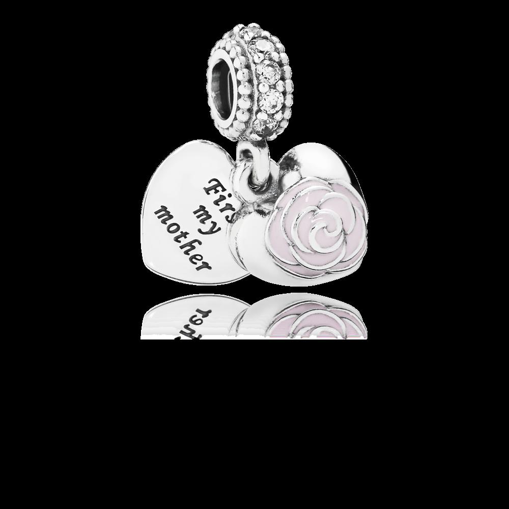 Un charm davvero carico di affetto questo pendente in argento sterling con 10 zirconie e smalto rosa con incisione first my mother e forever friend. Un dono perfetto per l'amica che sarà sempre accanto a te, la tua Mamma.