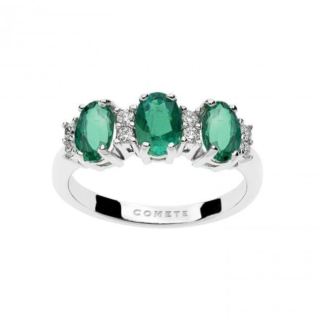 Anello - Cleopatra  Oro 750 ‰ . Diamanti P.Ct. 16 Col. G Purezza SI . Smeraldi Ct 1,29
