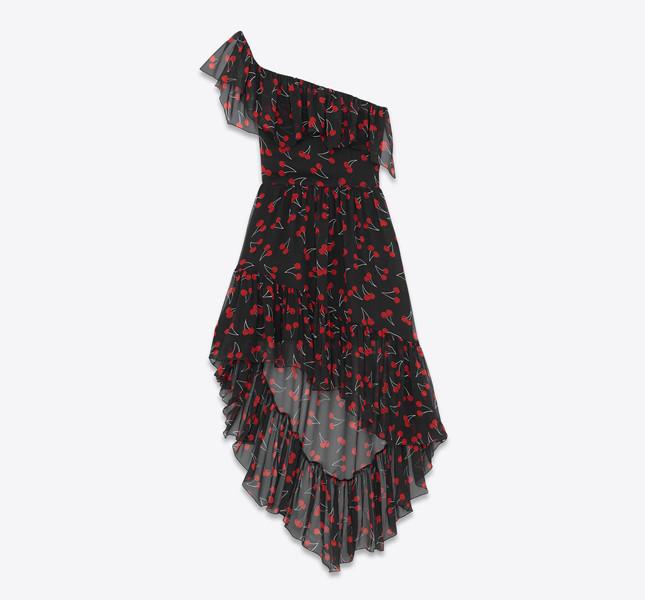 Abito asimmetrico monospalla nero e rosso in georgette di seta a stampa cherry