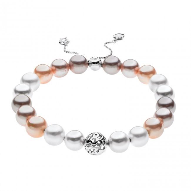 Bracciale- Astri Argento 925 ‰ . Shell Pearls multicolor pesca Ø 8/8,5