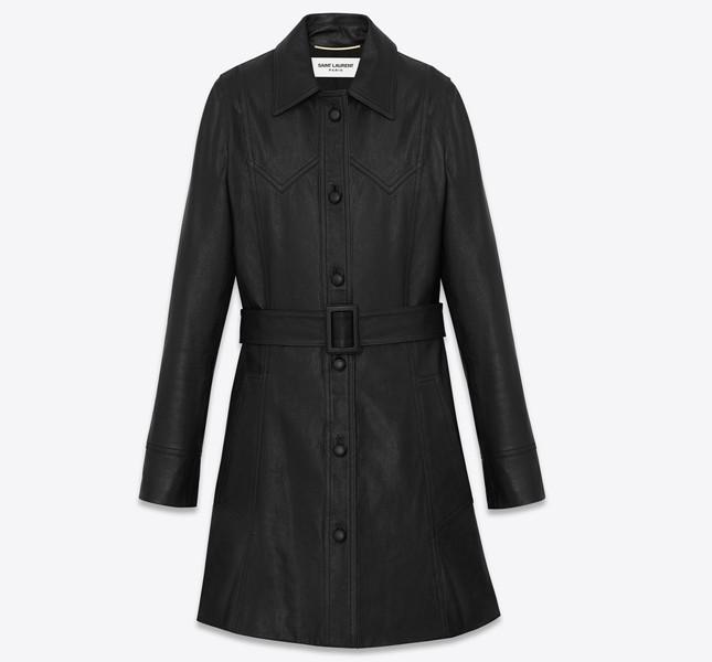Cappotto di pelle nero in pelle
