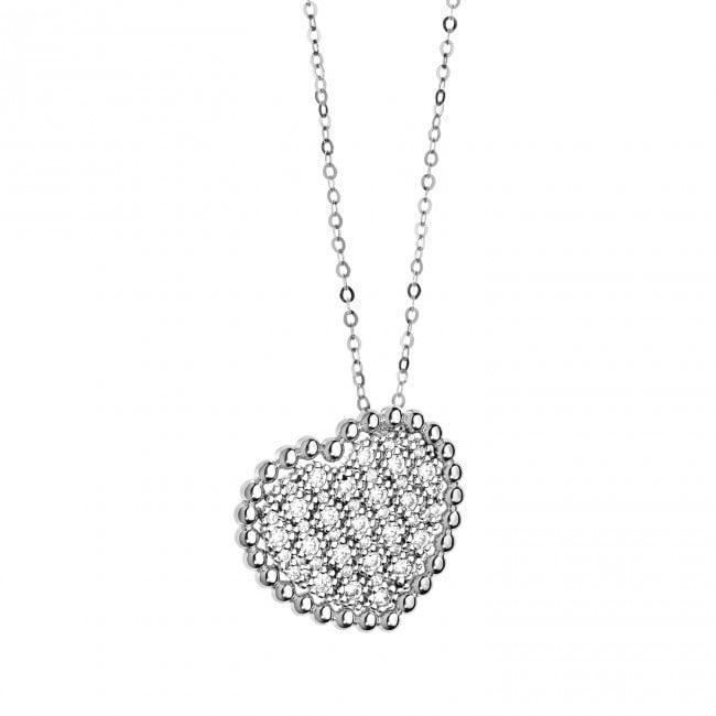 Collana - Sogni Oro 18 kt . Diamanti P.Ct. 42 Col. G Purezza SI . Zaffiro rosa Ct. 0,01