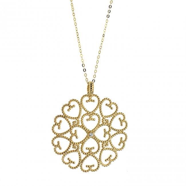 Collana - Regina Oro 750 ‰ . Diamanti P.Ct. 1 Col. G Purezza SI