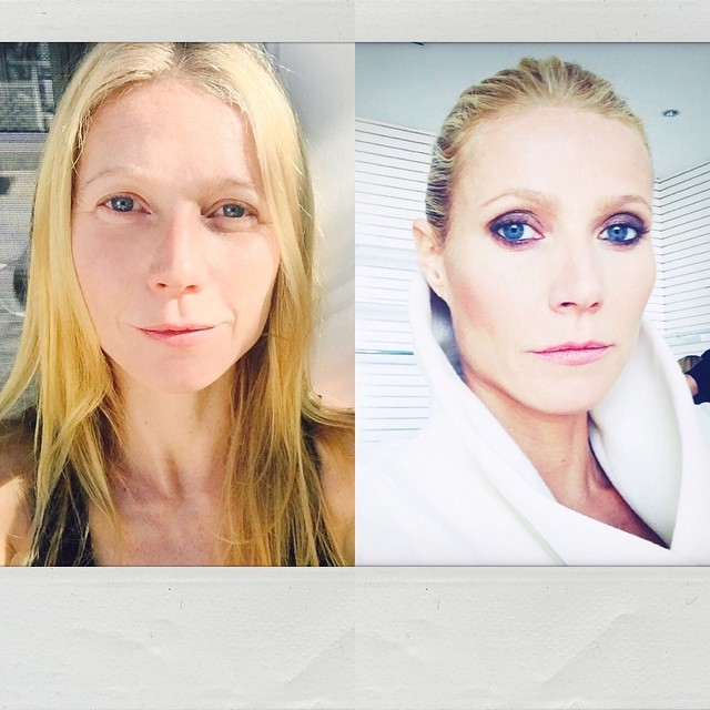 Gwyneth Paltrow  prima e dopo una seduta di make up