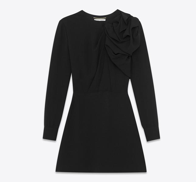 Mini abito con spalla arricciata nero in sablé