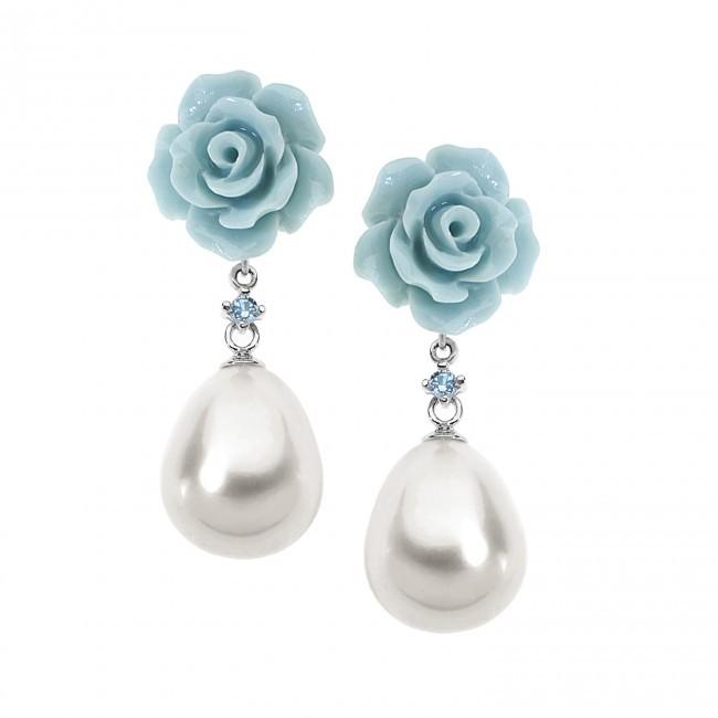 Orecchini- Romantica Argento 925 ‰ . Perle coltivate goccia 10x9 . Rosette Shell Pearls Ø 10 . Spinelli acqua Ct. 0,02