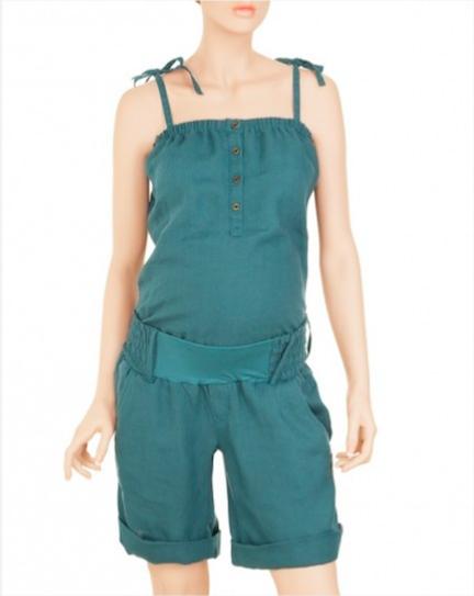 Prenatal salopette verde corta con pantaloncini
