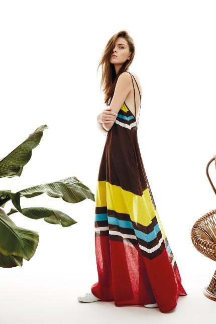 Pinko long dress con righe multicolor