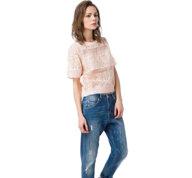 Blusa Jansen rosa confetto a manica corta e ricami