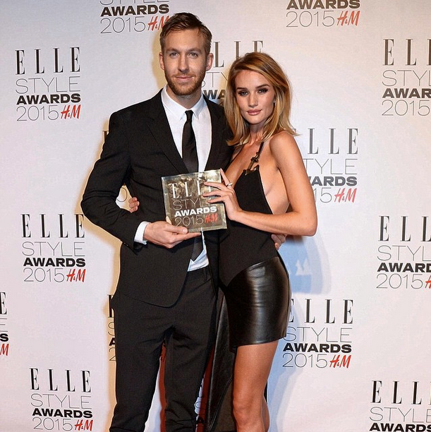 Calvin Harris con Rosi Huntington al gala della rivista Elle Style