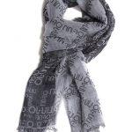Pashmina grigia in cotone, all-over logo LIU JO. Prezzo speciale 39 €