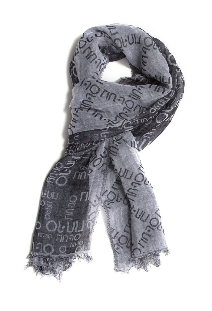 Pashmina grigia in cotone, all-over logo LIU JO. Prezzo speciale: 39 €