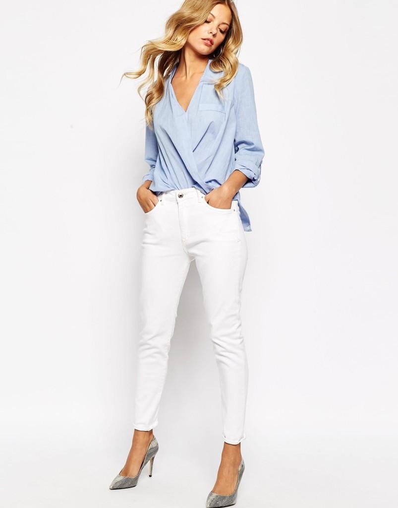 Jeans bianco con camicia_Asos