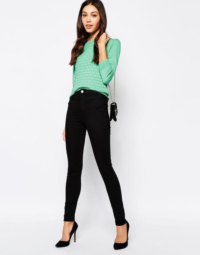 Jeans nero con camicia turchese_Asos