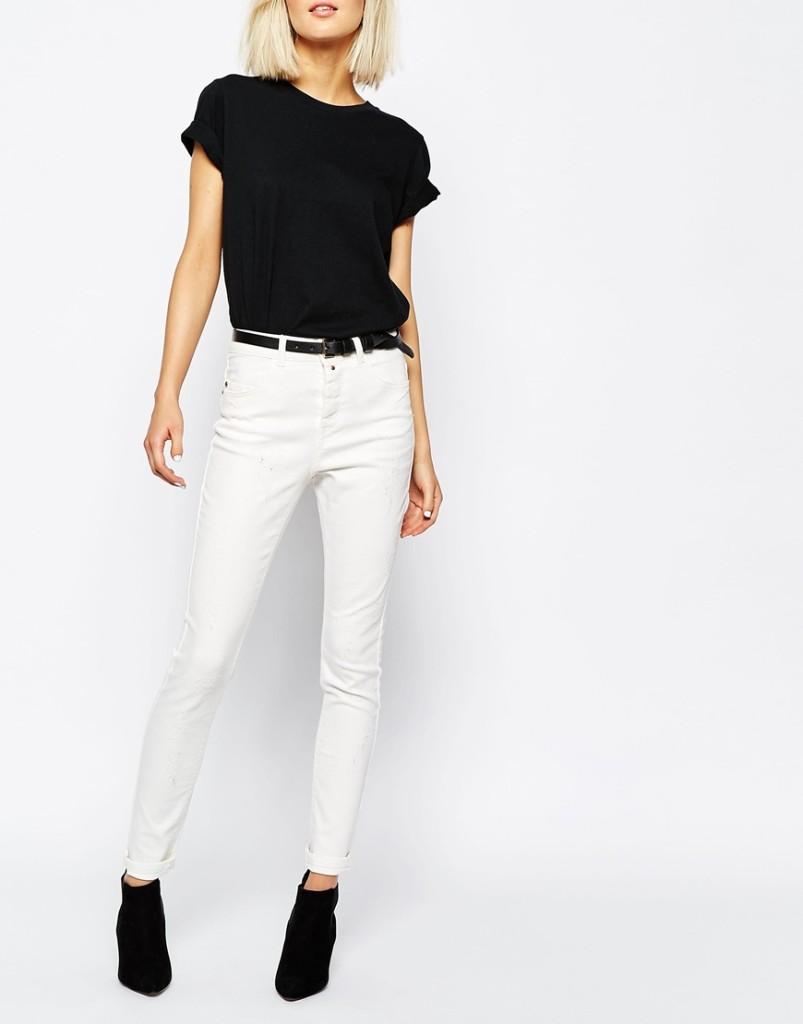 Jeans bianco con vita alta e top a mezza manica_Asos