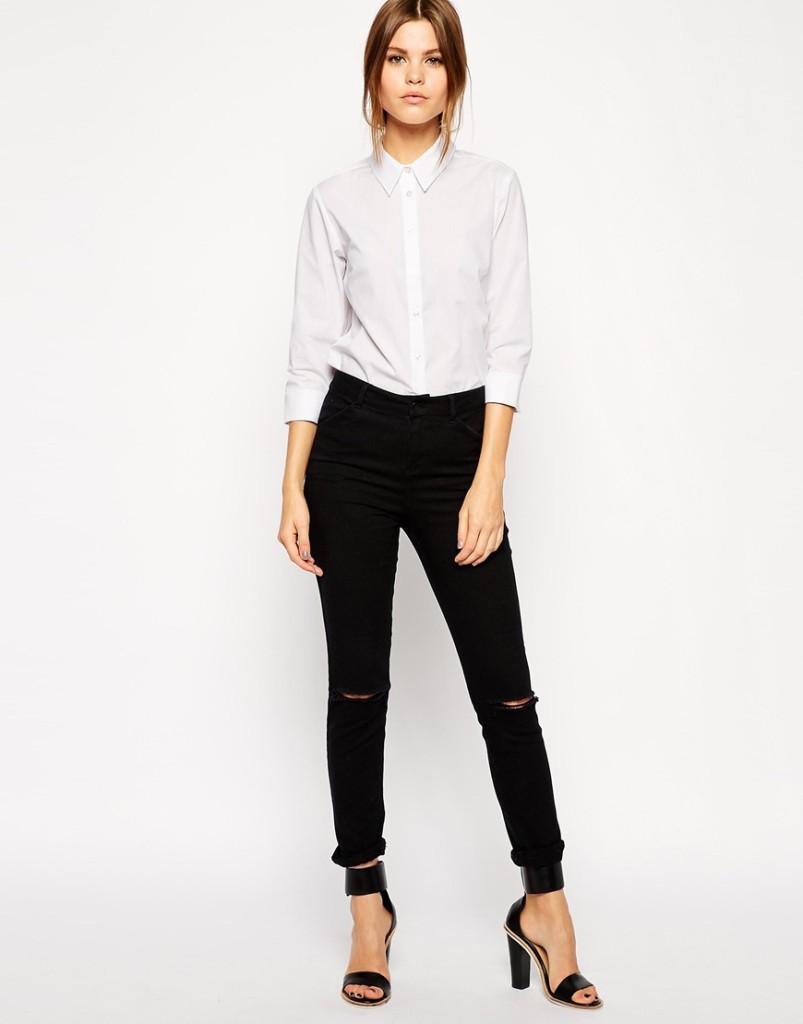 Jeans nero con camicia_Asos