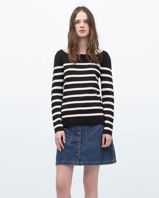Zara maglione a righe in maglia lavorata