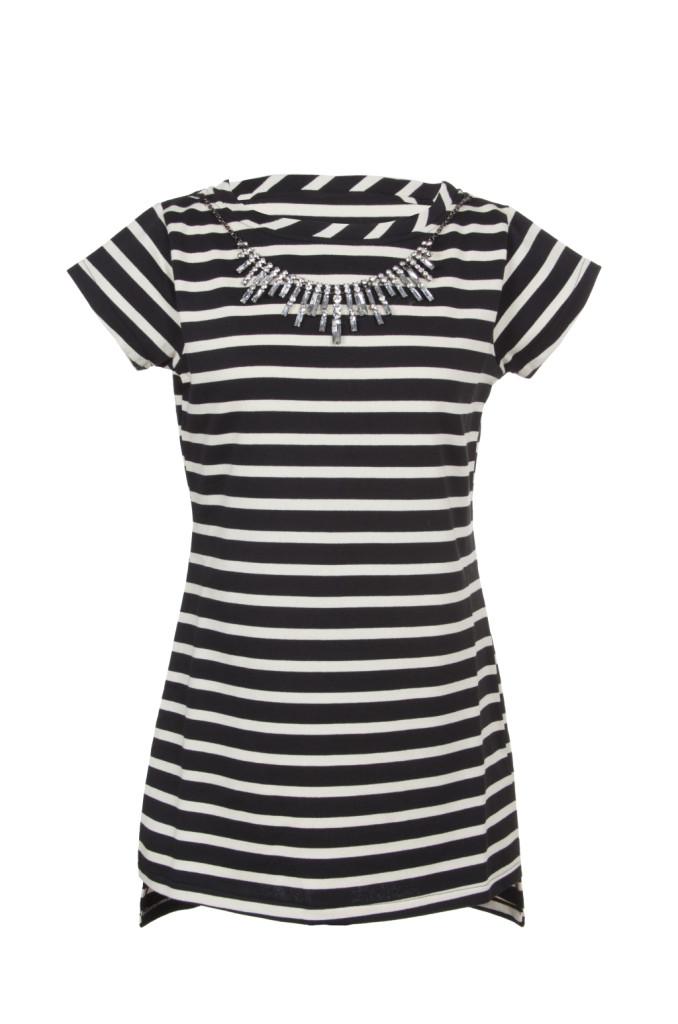 Abito in felpa di cotone colore black&white a righe, arricchito da applicazioni gioiello sul girocollo. Prezzo speciale: 89 €