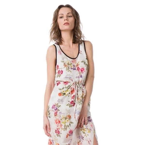 Long dress Bausch con ricami floreali multicolor su fondo bianco