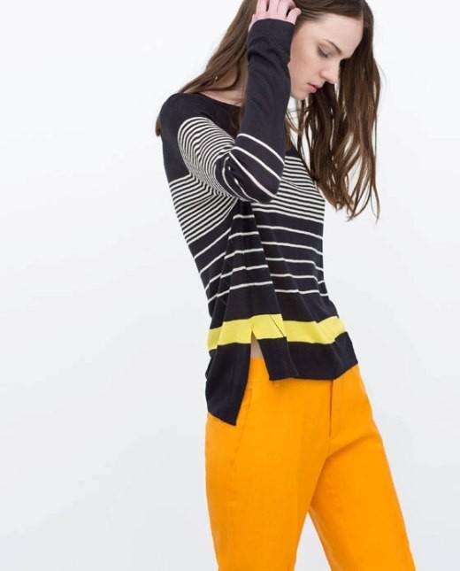 Zara maglia a righe con piccoli spacchi laterali