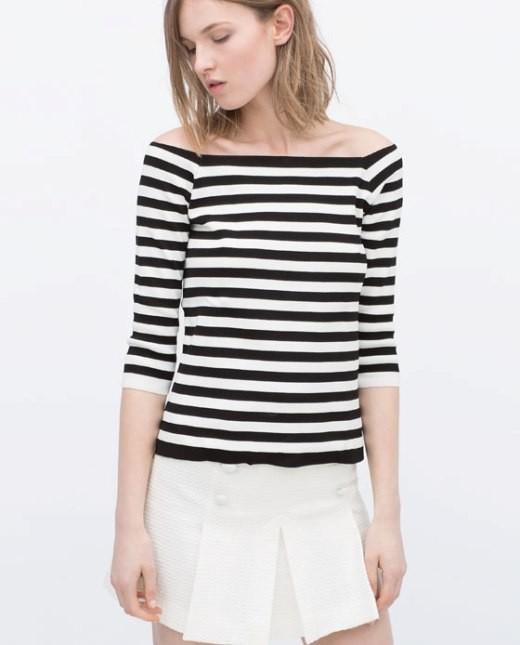 Zara pullover a righe con spalle scoperte
