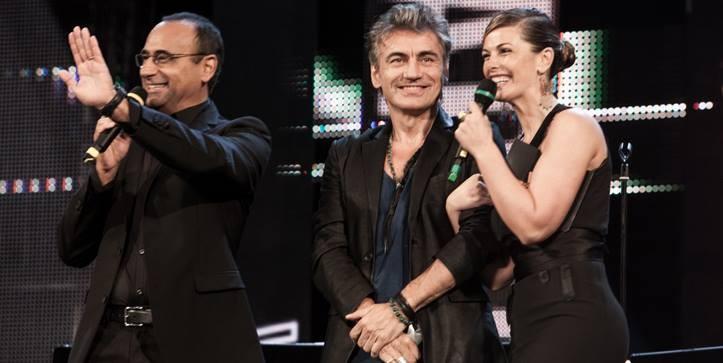 Sul palco nel 2014 Conti e Incontrada premiano Luciano Ligabue