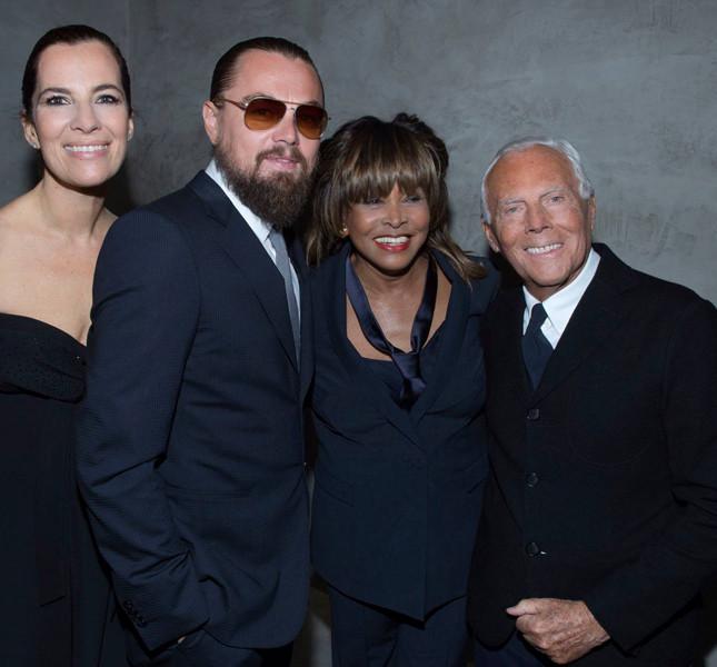Giorgio Armani e Roberta Armani con Leonardo Di Caprio e Tina Turner