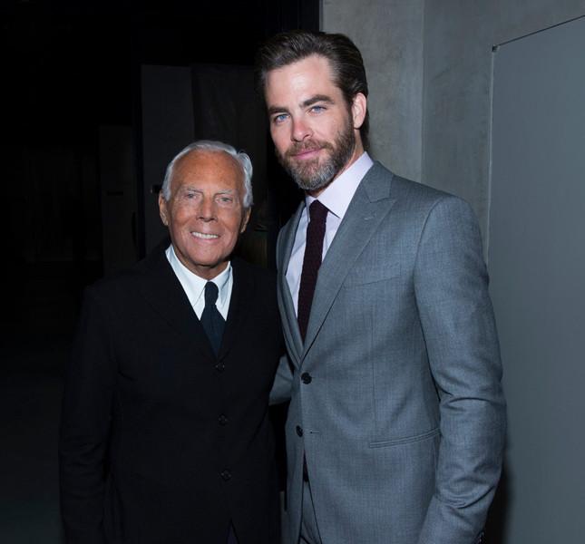 Giorgio Armani con Chris Pine