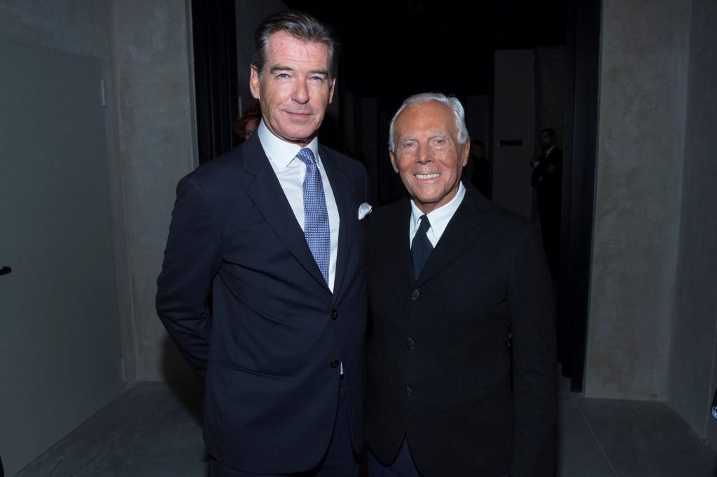 Giorgio Armani con Pierce Brosnan