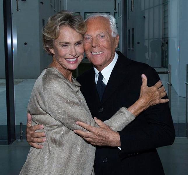 Lauren Hutton con Giorgio Armani