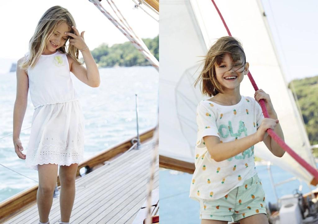 Collezione benetton abitino bianco in cotone con leggero ricamino in fondo e completino pantalone e t-shirt dai colore verde acqua
