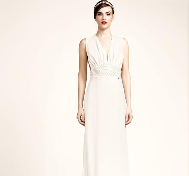 Elisabetta Franchi abito bianco con scollatura